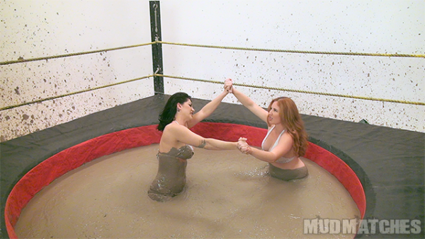 Kymberly Jane and Shauna Ryanne face off in the mud wrestling ring